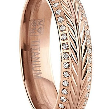 Rose Plated Titanium Ring, Crested with Wheat Stem Engraving, Double Row Eternity Band with Cubic Zirconia   FREE ENGRAVING