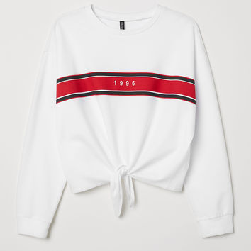 H&M+ Tie-detail Sweatshirt - White/1996 - Ladies | H&M US