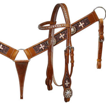 Saddles Tack Horse Supplies - ChickSaddlery.com Showman Beaded Headstall, Breast Collar, Reins Set With Rhinestone Conchos