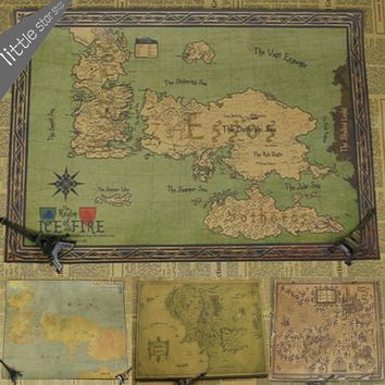 The Song of Ice and Fire Game of Thrones Map Vintage Retro Decorative Frame Poster  Wall Stickers Posters Home Bar Decor Gift