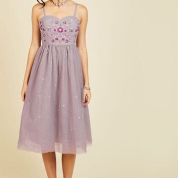Couth and Charismatic Midi Dress in Lilac | Mod Retro Vintage Dresses | ModCloth.com