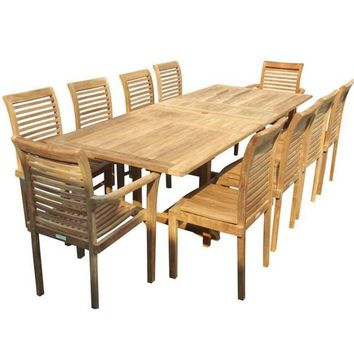 "Buckingham Teak 95"" Ext Table With 10 Stacking Chairs"