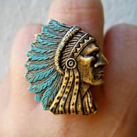 indian chief ring, blue ring, feather ring, tribal ring, unique ring, statement ring
