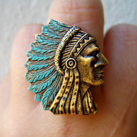 indian chief ring with blue feather head dress by alapopjewelry