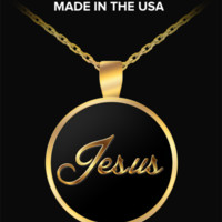 Jesus, Typography - Gold Plated Necklace