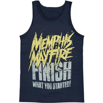 Memphis May Fire Men's  Finish What You Started Mens Tank Blue Rockabilia