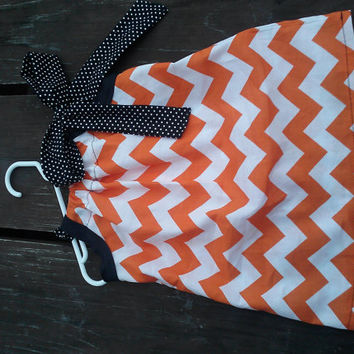 Girls Halloween Dress Boutique Style Toddler Pillowcase Dress Chevron print with fabric bow 12 months