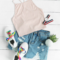 Y Back Rib Knit Striped Cami Top -SheIn(Sheinside)