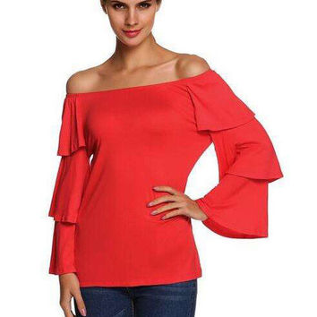 Women Fashion Solid Color boat neck Long Sleeve t-shirt
