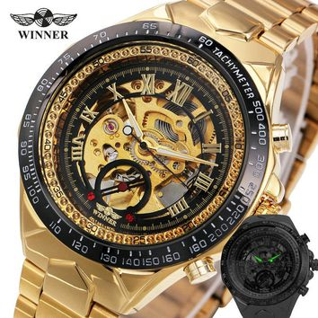 2017 New Fashion Men Mechanical Watch:Skeleton