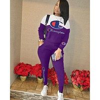 Champion Popular Women Casual Print Long Sleeve Trousers Set Two-Piece Sportswear Purple