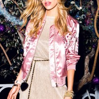 Zoe Embroidered Satin Bomber