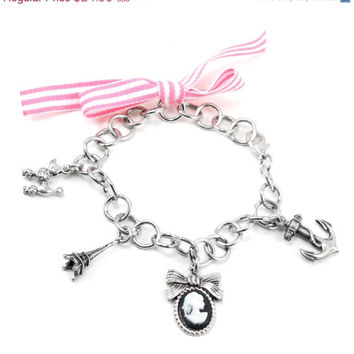 ON SALE Nautical Pin-Up Charm Bracelet with Anchor Bow Cameo Eiffel Tower Poodle and Chunky Antiqued Sterling Silver Plated Chain