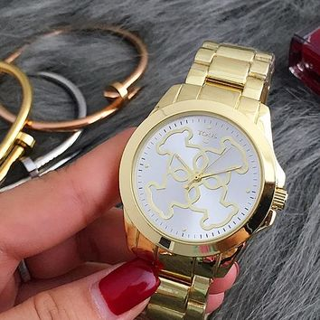 TOUS Hot Sale Vintage Fashion Classic Watch Round Ladies Women Men wristwatch Gold I-Fushida-8899