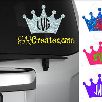 Monogrammed Crown Decal - Glitter, Neon or Regular Vinyl