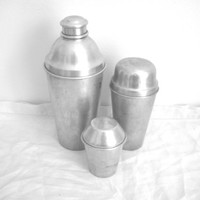 Vintage Aluminum Shakers - Cocomalt - Mirro Cocktail Shaker - Barware