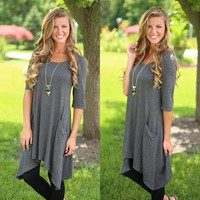 Perfect Pockets Tunic in Charcoal