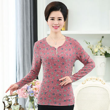 Knitted Top Bottoming Shirt Fall Middle Age Mother Polka Dot Printed Cotton Pullover Plus Size Women V Neck Long Sleeve T-Shirt