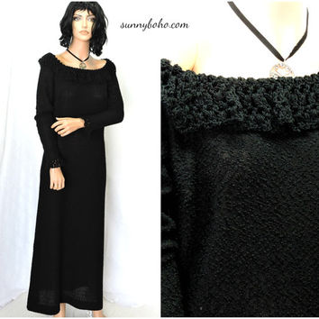 Vintage 80s black knit maxi dress S M 1980s Custom Knit crocheted lace long black sweater dress retro gothic knit dress SunnyBohoVintage