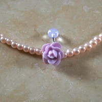 Purple Rose Belly Ring With Clear  Ball Body Jewelry