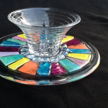 Stained Glass Candy Dish, Flower vase, One of a kind, Handmade, Unique Gift Idea, Wedding, Baby Shower, Birthday Gift, Hostess, Christmas