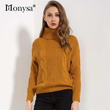 Women Sweaters And Pullovers 2018 Winter New Arrivals Fashion Long Sleeve Knitted Sweaters Ladies Turtleneck Sweater Yellow Red
