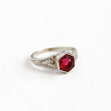 Vintage 10K White Gold Simulated Ruby Ring - 1920s Size 1 Art Deco Pink Red Glass Stone Midi Children's Baby Fine Petite Jewelry