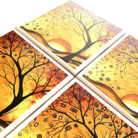 MADART Coasters Ceramic Dreaming in Gold Tile by QueenOfDeTile