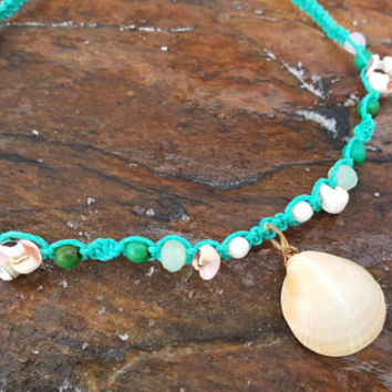 Girls Hemp Necklace, Shell Necklace, Mermaid Necklace, Girly Jewelry, Chrysocolla, Sea Shell Pendant, Hemp Necklace, Gift for Her,  Mermaid