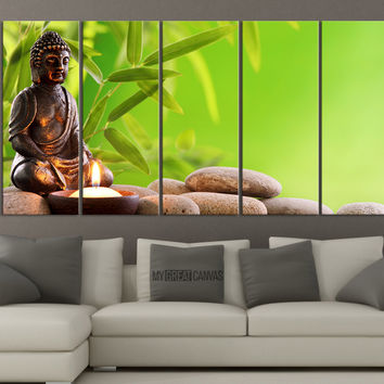 Large Wall Art Buddha Statue and Candle on Stones Canvas Print - Wall Art Large Canvas Prints