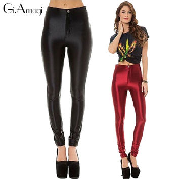 2016 Hot Sale Satin Disco Pants With Pockets Silm High Waist Slim Women's Pants Skinny Womens Trousers Plus Size 9 Colors