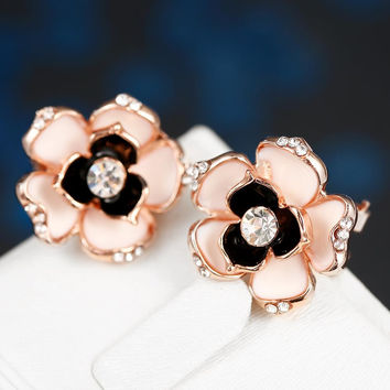 18K Rose Gold Floral Onyx Stud Earrings Made with Swarovksi Elements