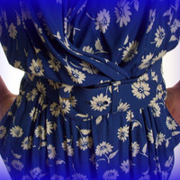Vintage Karin Stevens Blue Dress with White Daisies 1980's