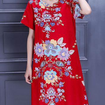 Casual Chinoiserie Printed Cotton/Linen Shift Dress