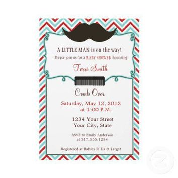 Mustache Baby Shower Invitation for Little Man from Zazzle.com