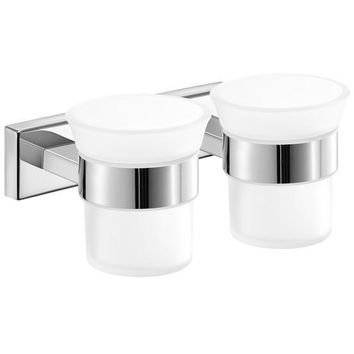 SCBA Enigma Wall Double Frosted Glass Toothbrush Toothpaste Holder Bath Tumbler