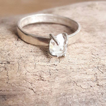 Herkimer Diamond Quartz Crystal Ring - Silver Engagement Ring - Raw Crystal Wedding Ring - Rough Stone Engagement - Hammered Silver Ring