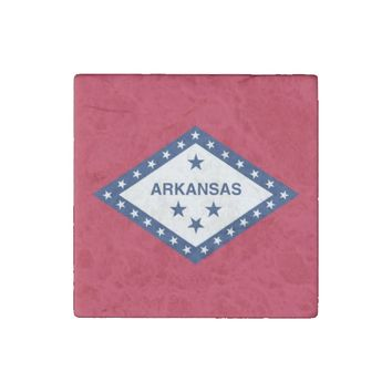Patriotic stone magnet with Flag of Arkansas