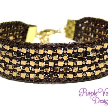 Beaded Leather Macrame Cuff Bracelet, Knotted Bracelet with Triangle Beads & Seed Beads - Dark Brown/Bronze