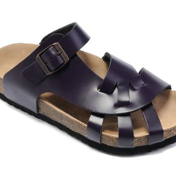 Birkenstock Pisa Sandals Leather Deep Purple - Ready Stock
