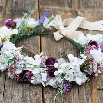 flower crown, white and purple wedding, floral crown, rustic wedding, romantic head band, floral headpiece,bridal wreath,floral boho wreath