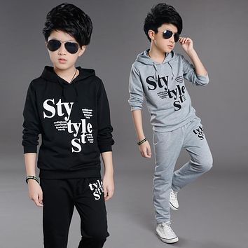 The Boy Set The Spring and Autumn Big Boy New Sport Sweater Two Piece Boy Hooded Casual Clothes 4-16 Ages