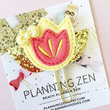 Yellow & Coral Spring Flower with Gold Leaves Felt Paperclip