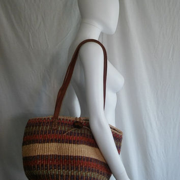 Make OFFER Sale Woven purse Bag with Leather Straps    accessories