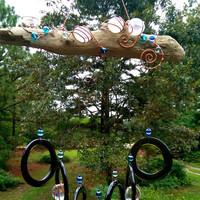 Illume Studio Handmade Upcycled Recycled Wine Bottle Wind Chime with Texas Driftwood, Copper Wire, and Glass Beads and Jewels