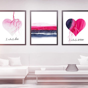 Inspirational love quotes - Breathing in Breathing out - Inspirational quotes - Set of 3