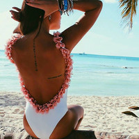 Low Back Feminine One Piece Swimsuit