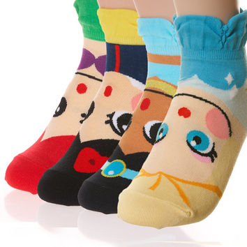 Womens Cute Ankle Socks inspried from Princess Characters in Cartoons Little Mermaid Ariel Aladin Jasmine Snow White Frozen Elsa