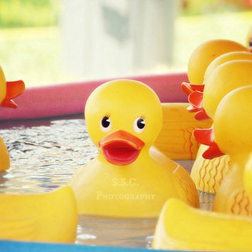 Carnival Game photo. Rubber Ducky art print. nursery decor. yellow photography. cute. baby duck. nostalgic photo. children's room decor