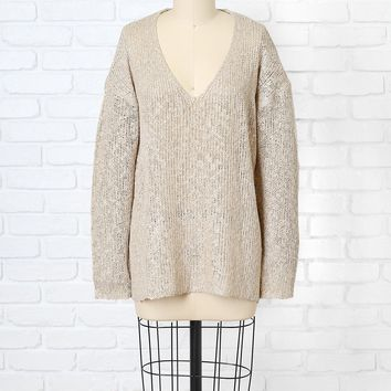 Taupe Open-Knit Sweater